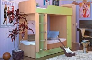 Детская двуяъярусная кровать со шкафом