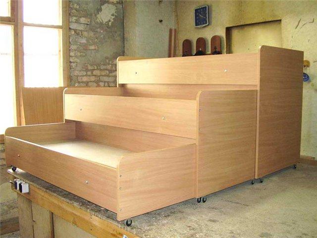 Как сделать двухъярусную выкатную кровать своими руками 68